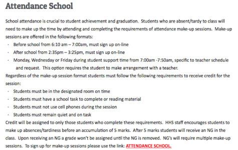 New attendance school policy