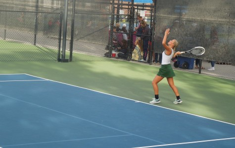 Senior Jocelynn Truman plays in a singles match at the Girls State Tennis Tournament.