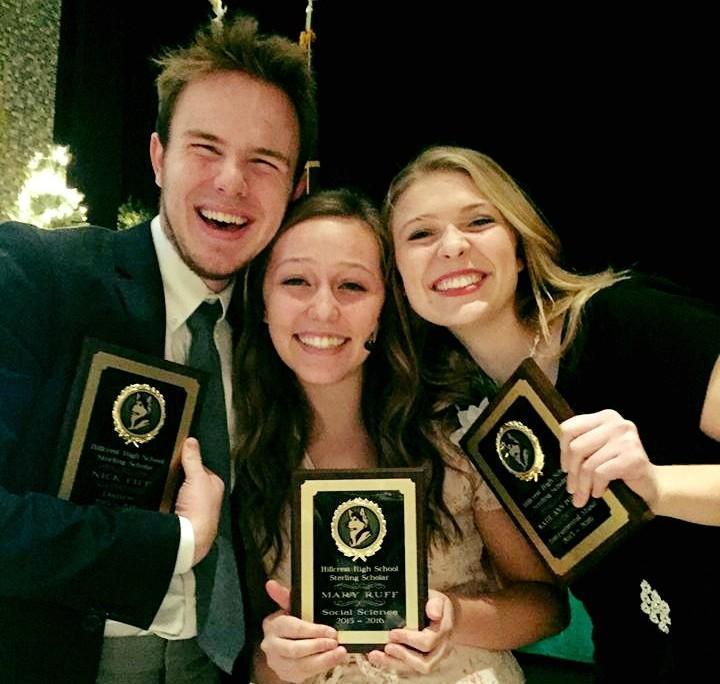 Nick Fife, sterling scholar for dance; Mary Ruff, sterling scholar for social science; and Katie Ann Powell, sterling scholar for instrumental music.