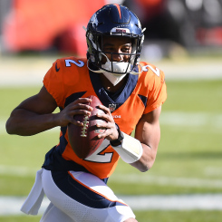 Pictured: Kendall Hinton playing against the Saints on November 29. Hinton made his first NFL start against the Saints with no practice beforehand. Source: broncoswire.usatoday.com