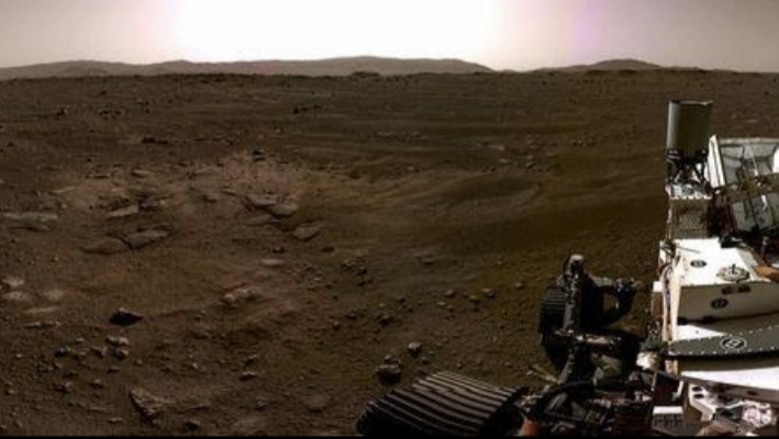 A panorama taken on February 20th, showing a fossilized river delta